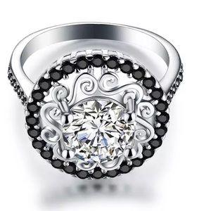 Genuine 925 Sterling Silver Flower Engagement Ring